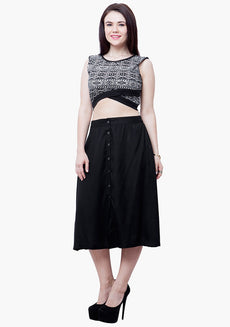 CURVE Buttoned Midi Skater Skirt - Black
