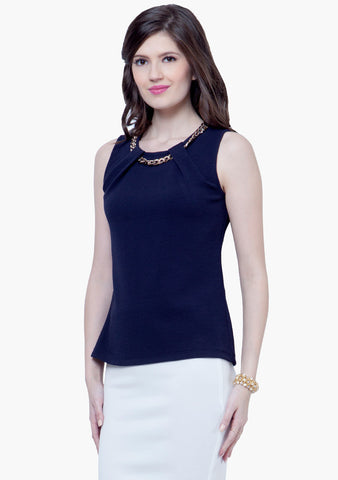 Gold Chain Link Top - Navy - VS FASHIONS