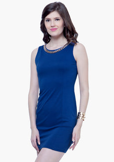 Gold Chain Bodycon Dress - Blue