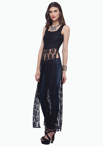 Black Lace Maxi Top - VS FASHIONS