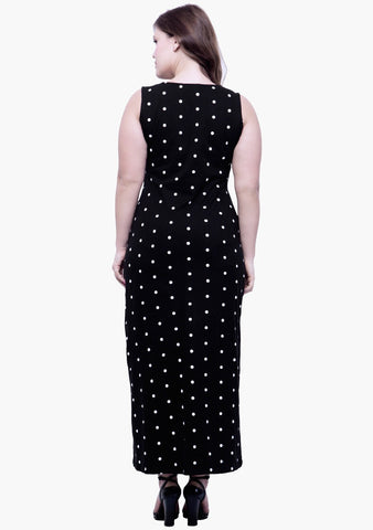 CURVE Polka Split Maxi Dress - VS FASHIONS