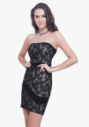FABALLEY Glam Lace Tube Dress - Black Nude - VS FASHIONS