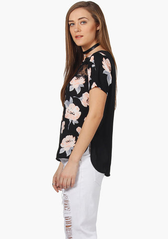 FABALLEY Lace Insert Top-Blush Floral Summercool Ggt - VS FASHIONS