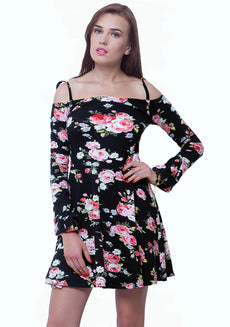 Gypsy Girl Bardot Skater Dress - Black Floral