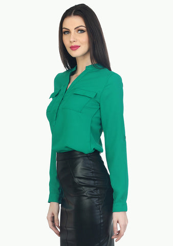 Double Pocketed Sheer Shirt - Green - VS FASHIONS