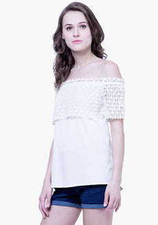 Crochet Lace Peasant Off Shoulder Top - White