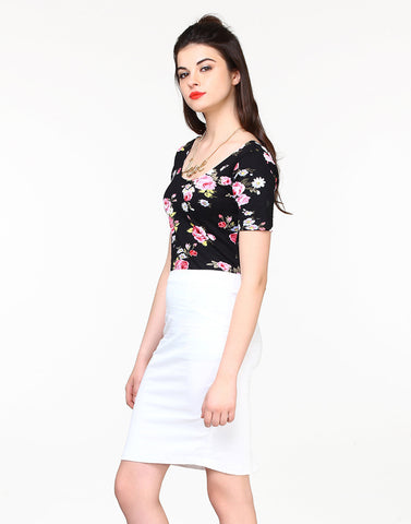 Shape Up Pencil Skirt - White - VS FASHIONS