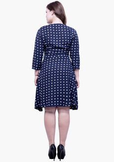 CURVE Belted Skater Dress - Polka