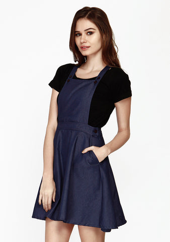 Chic Dungaree Skater Dress - Blue - VS FASHIONS