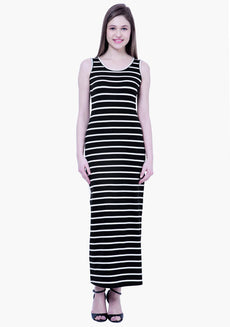 FABALLEY BASICS Striped Maxi Dress - Black