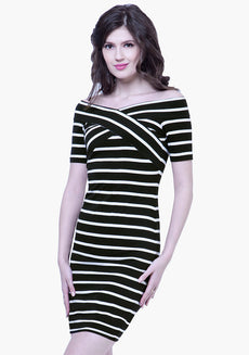 Cross Over Bardot Dress - Stripes