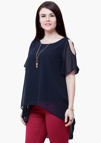 CURVE LONGLINE TUNIC TOP - NAVY