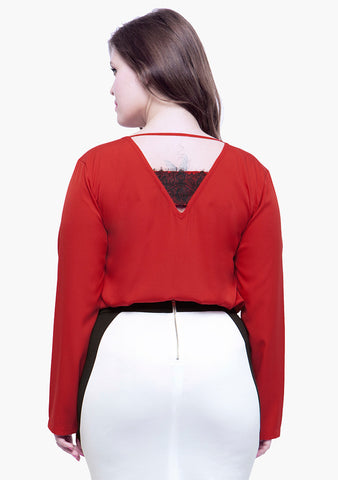 CURVE Lace Trance Blouse - Red