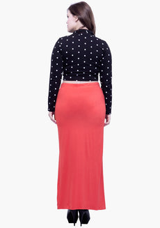 CURVE Free Flare Slit Maxi Skirt - Coral