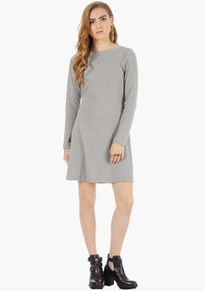 FABALLEY Grey Rib Skater Dress