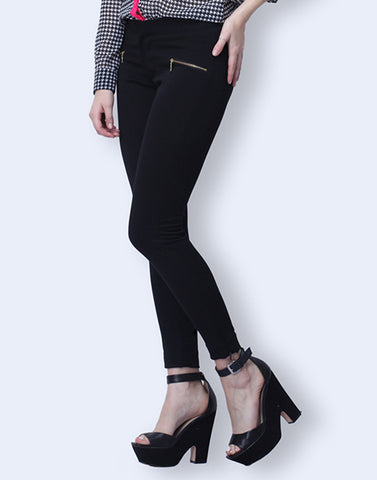 Zip Trip Cropped Pants - Black