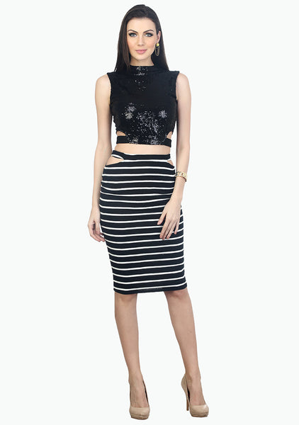On The Cut Pencil Skirt - Stripes