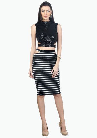 On The Cut Pencil Skirt - Stripes - VS FASHIONS