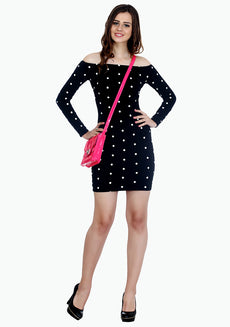 FABALLEY Free Shoulders Bodycon Dress - Polka