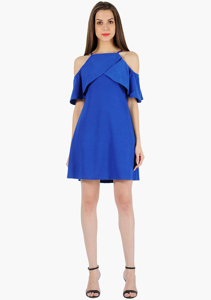 FABALLEY Ruffle Sleeve Cold Sh. Dress- Royal Blue