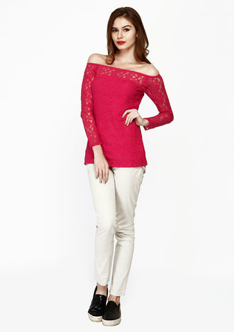 Off The Shoulder Lace Top - Pink - VS FASHIONS