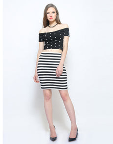 Dashing Dots Crop Top Off Shoulder Style
