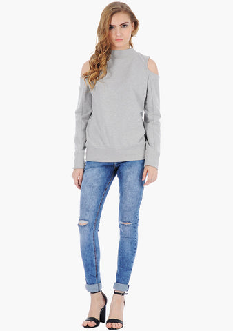 FABALLEY Cold Shoulder Sweatshirt - Grey - VS FASHIONS