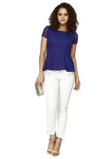 Get Laced Peplum Top - Blue