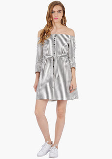FABALLEY Bardot Shirt Dress - Stripes