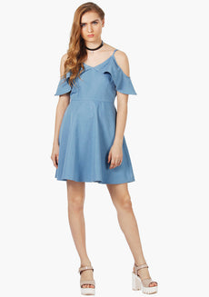 FABALLEY Light Denim Chambray Ruffled Cold Shoulder Skater Dress