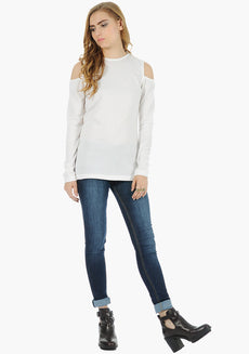 FABALLEY Cold Shoulder Sweater - White