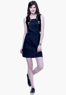 FABALLEY Denim Dungaree Dress - Dark Wash