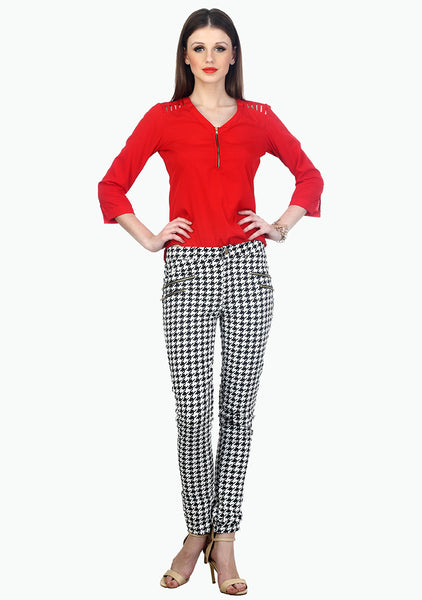 Modish Houndstooth Zip Trousers