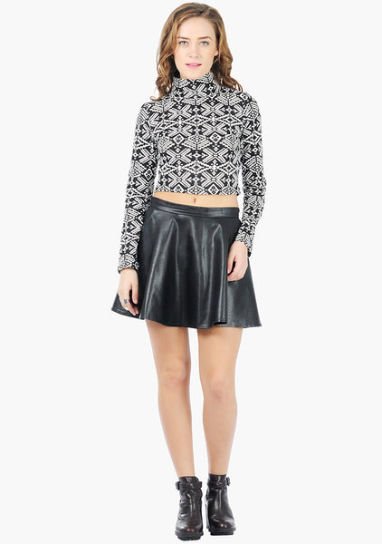 FABALLEY Turtle Neck Crop Top - Tribal