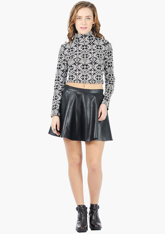 FABALLEY Turtle Neck Crop Top - Tribal - VS FASHIONS