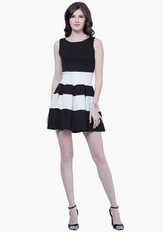 Bold Stripe Skater Dress - Black