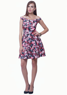 Bardot Girl Scuba Skater Dress - Dark Floral