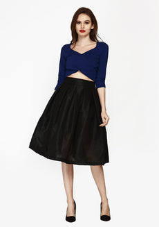 Glam Girl Silk Midi Skirt - Black