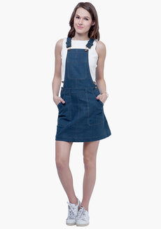 FABALLEY Denim Dungaree Dress - Medium Wash