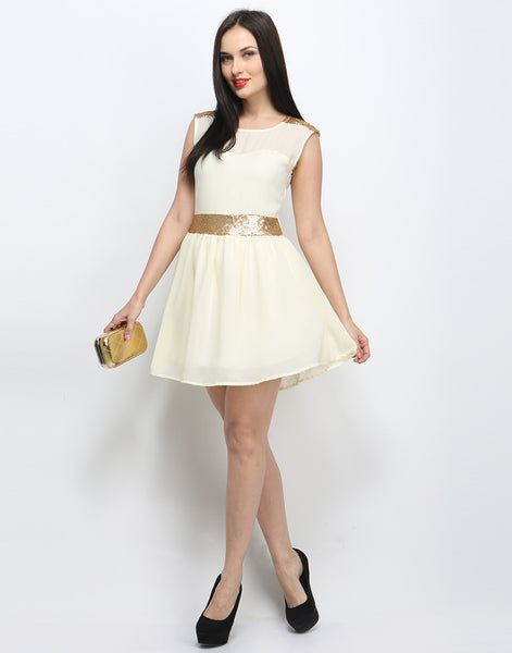 Pop That Gold Skater Dress - Cream