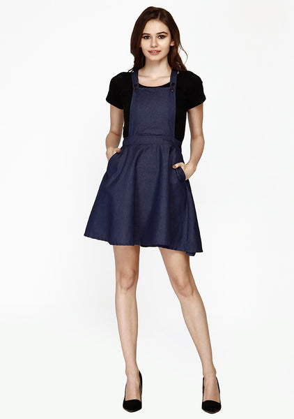 Chic Dungaree Skater Dress - Blue