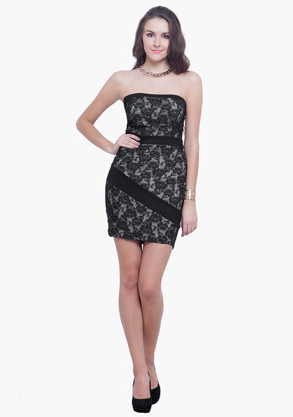 FABALLEY Glam Lace Tube Dress - Black Nude