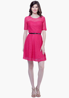 Lace Around Skater Dress - Pink