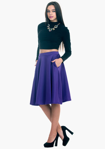 Scuba Sass Midi Skirt - Purple - VS FASHIONS