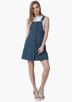 FABALLEY Denim Overall Dress - Light