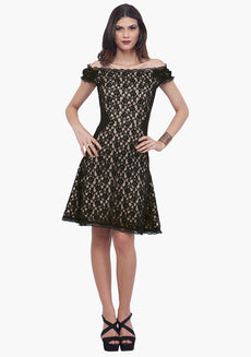 FABALLEY Black Surprise Lace Skater Dress