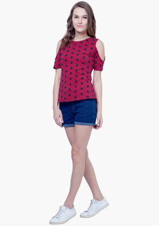 Cold Shoulder Top - Polka