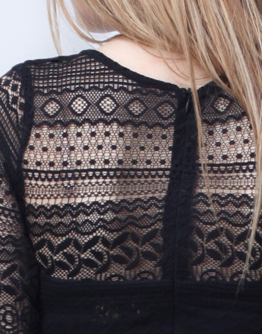 Lace Smitten Top - Black - VS FASHIONS