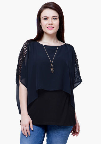 CURVE Sheer Overlay Top - Navy - VS FASHIONS