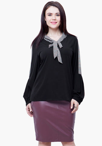 CURVE Pussybow Blouse - Black - VS FASHIONS